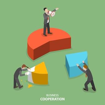 Concetto di vettore piatto isometrico di cooperazione commerciale.