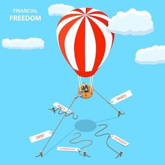 Concetto di vettore piatto isometrico di libertà finanziaria