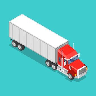 Concetto di vettore piatto isometrico di un camion carico.
