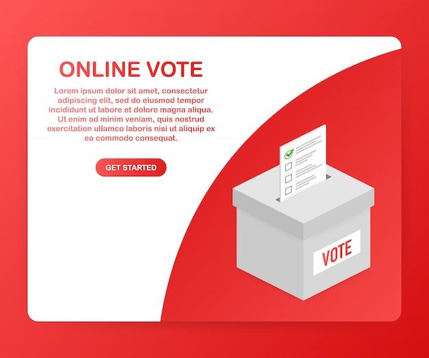 Concetto di vettore piatto isometrico votazione online, e-voting, sistema internet elettorale. .