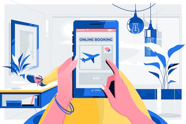 Concetto di viaggio aereo di volo di prenotazione online