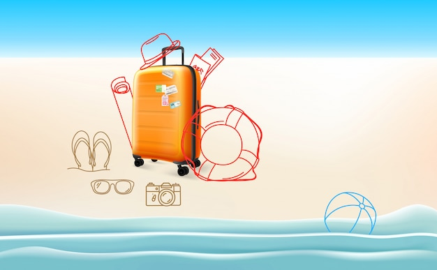 Concetto di viaggio con diverse cose da viaggio