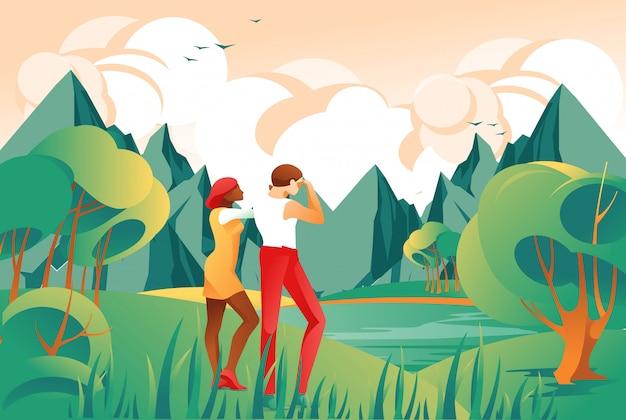 Concetto di viaggio con i turisti sul paesaggio montano