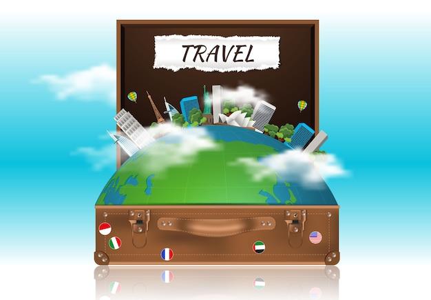 Concetto di viaggio con la borsa aperta marrone.