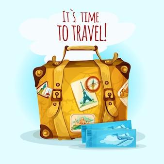 Concetto di viaggio con la valigia