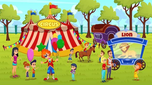 Concetto di viaggio del fumetto del circo di viaggio