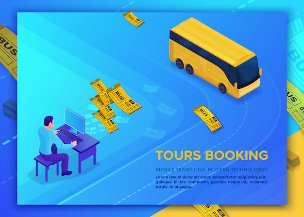 Concetto di viaggio in autobus, modello di pagina di destinazione