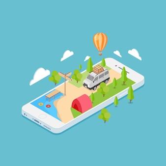 Concetto di viaggio online applicazione mobile