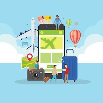 Concetto di viaggio online prenotazione di applicazioni mobile