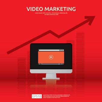 Concetto di video marketing con schermo grafico e monitor pc