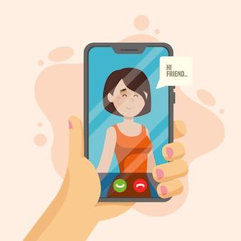 Concetto di videochiamata con il telefono