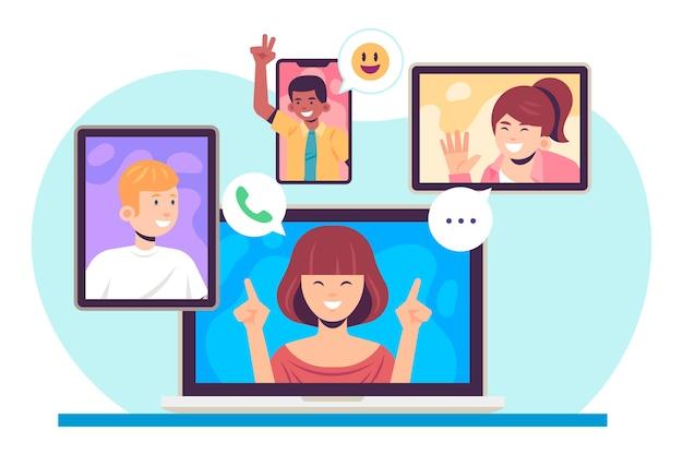 Concetto di videochiamata degli amici