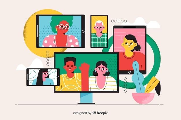 Concetto di videoconferenza dell'illustrazione della pagina di destinazione