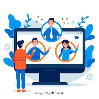 Concetto di videoconferenza per landing page