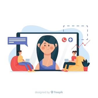 Concetto di videoconferenza per pagina di destinazione