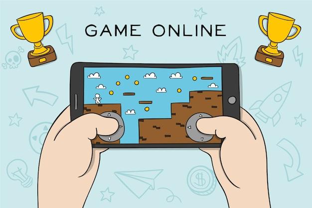 Concetto di videogioco piattaforma di telefonia mobile