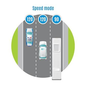 Concetto di vista superiore del traffico automobilistico colorato