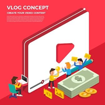 Concetto di vlog design piatto. crea contenuti video e guadagna. illustrare