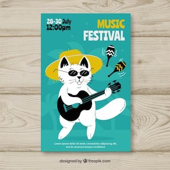 Concetto di volantino per festival musicale con gatto