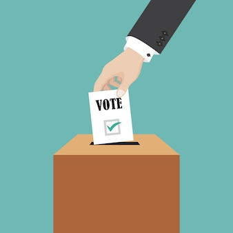 Concetto di voto, mano dell'uomo d'affari che mette la carta di voto nella scatola, illustrazione nello stile piano