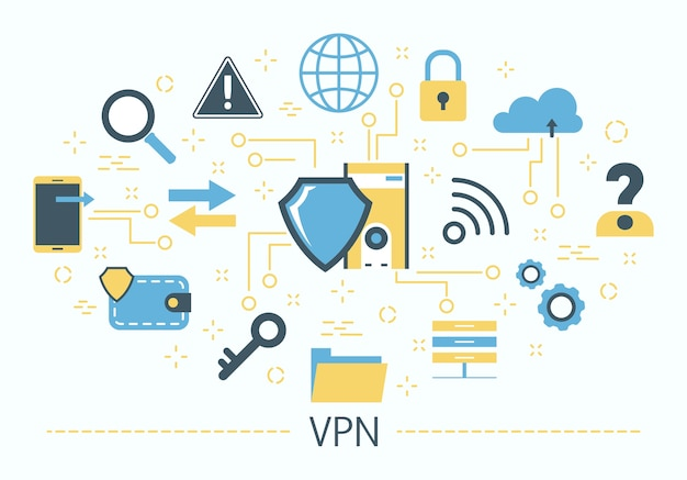 Concetto di vpn. idea di privacy e sicurezza. moderno