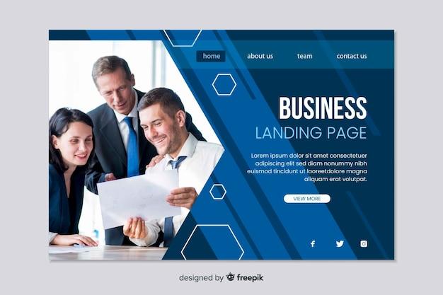 Concetto di web della pagina di atterraggio di affari per il modello