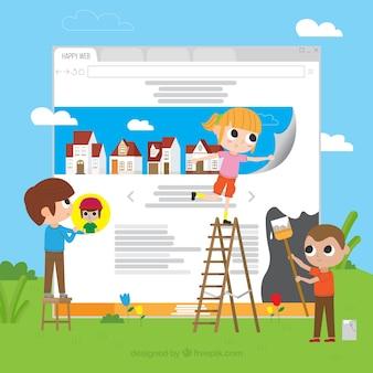Concetto di web design moderno con design piatto