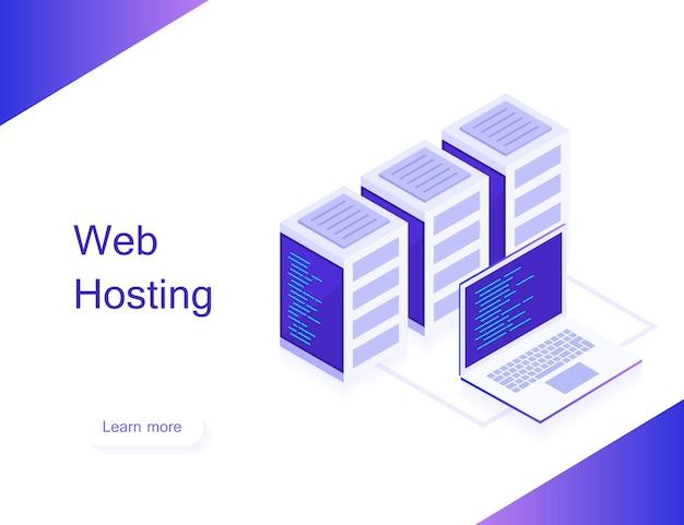 Concetto di web hosting. mappa isometrica con server di rete aziendale e laptop. dati di archiviazione e sincronizzazione dei dispositivi. stile isometrico 3d.