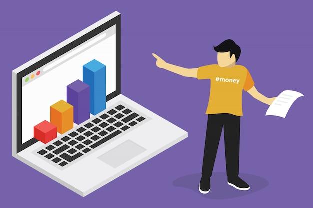 Concetto di webinar, formazione online di business finance, formazione sul computer, e apprendimento del posto di lavoro