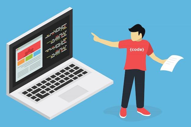 Concetto di webinar, formazione online di sviluppo web, educazione al computer, e apprendimento del posto di lavoro