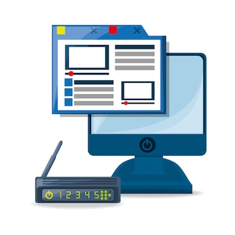 Concetto di webside, router, internet e computer
