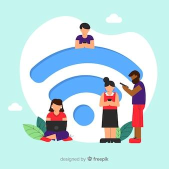 Concetto di wifi piatto