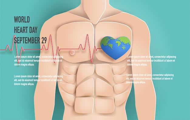 Concetto di world heart day, corpo di uomo con la linea del battito cardiaco.