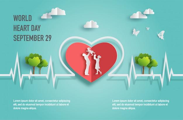 Concetto di world heart day, famiglia felice con la linea del battito cardiaco.