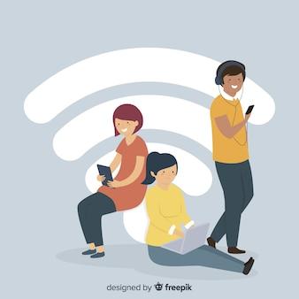 Concetto di zona wifi piatto con segnale
