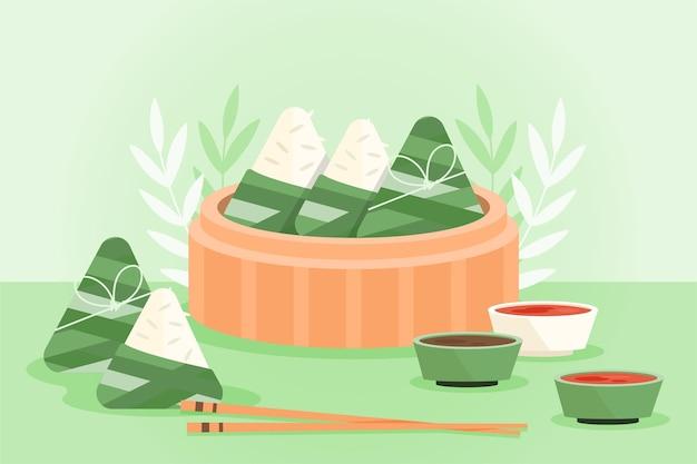 Concetto di zongzi barca design piatto drago