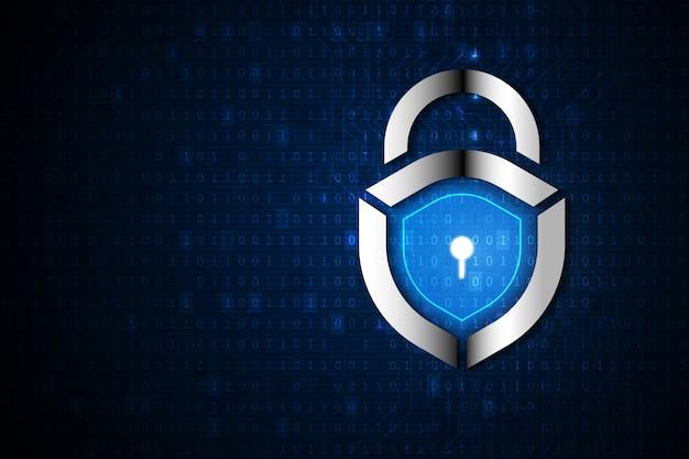 Concetto digitale binario di cyber security e protezione dei dati personali.