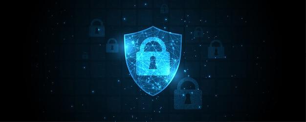 Concetto digitale cyber di sicurezza del lucchetto fondo astratto di tecnologia protegge l'innovazione del sistema