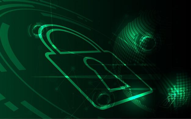 Concetto digitale cyber di sicurezza il fondo astratto della tecnologia protegge l'innovazione del sistema