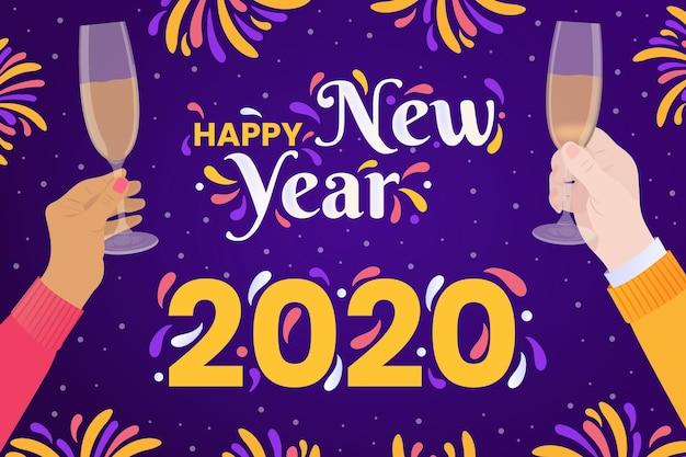 Concetto disegnato a mano del fondo del nuovo anno 2020