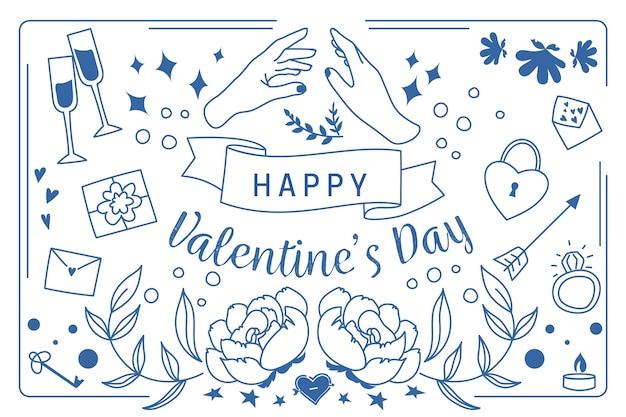 Concetto disegnato a mano del fondo di giorno di biglietti di s. valentino