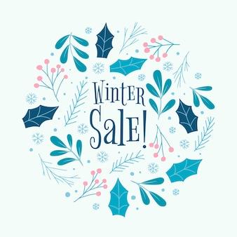 Concetto disegnato a mano dell'insegna di vendita di inverno