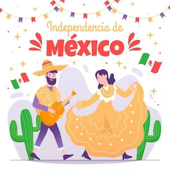 Concetto disegnato a mano di festa dell'indipendenza mexic