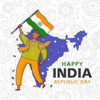 Concetto disegnato a mano di giorno della repubblica indiana