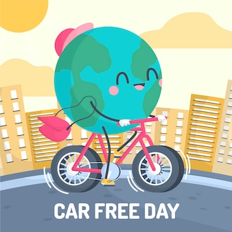 Concetto disegnato a mano di giorno libero dell'automobile del mondo