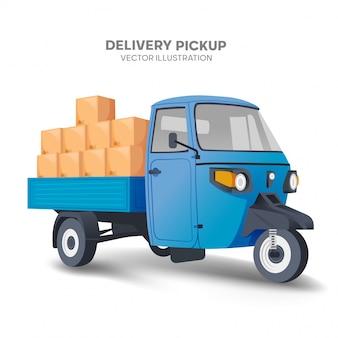 Concetto domestico di delivey con il vettore italiano blu dei pickup e dei pacchetti di trike