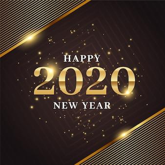 Concetto dorato del fondo del nuovo anno 2020