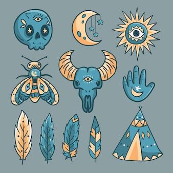 Concetto esoterico dell'illustrazione degli elementi
