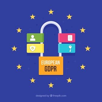 Concetto europeo di gdpr con design piatto