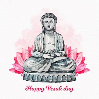 Concetto felice dell'acquerello giorno di vesak
